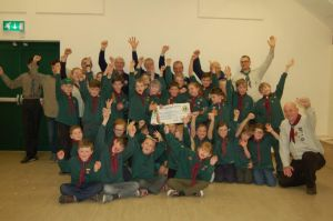 Cheque for £1500 donated to Wareham Scouts